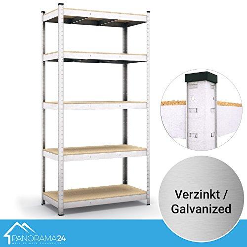 Panorama24 Lagerregal verzinkt belastbar bis 875kg - Maße: 200 x 90 x 60 cm, Regal Kellerregal Steckregal Werkstattregal Schwerlastregal
