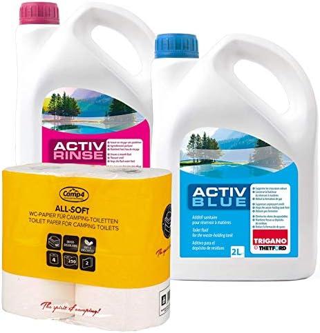 Set Thetford Activ Blue & activo Rinse Baños por adicional de 2 litros, disponible con papel higiénico