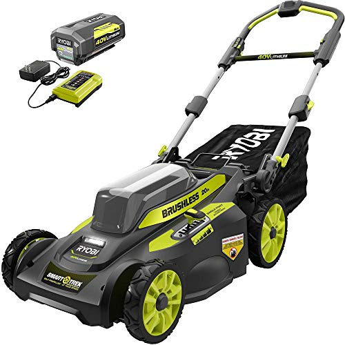 RYOBI RY40LM30 20 in. 40-Volt Brushless Lithium-Ion Cordless Smart Trek Self-Propelled Walk Behind Mower w/6.0 Ah Battery and Charger