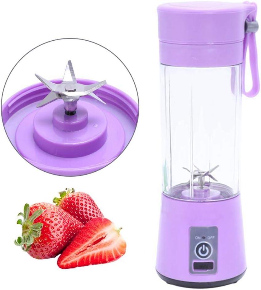 IXL 380Ml Batidora de Carga USB Batido de Frutas Exprimidor de Alimentos para bebés Exprimidor de 6 Cuchillas Botella Botella Jugo Limón Limón Vegetal, Rosa Pink