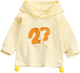 Xifamniy Infant Girls Cotton Tops Long Sleeve Letter Print Solid Color Hooded Sweatshirt Yellow
