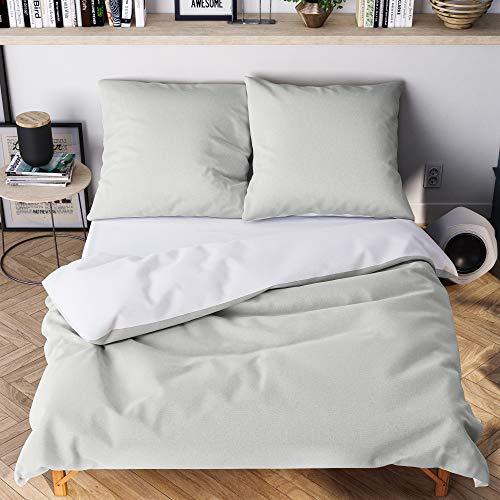 Wolkenfeld Bettwäsche 135x200 grau weiß - kuschelig weich & bügelfrei - 2teilig - [1x] Bettbezug + [1x] Kissenbezug 80x80 für Sommer und Winter
