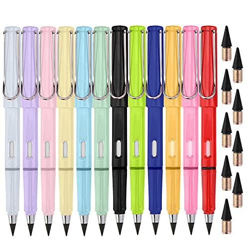12 Tintenlose Bleistifte ewig,12 tintenlose Bleistifte + 9 Ersatzköpfe,Technologie Unbegrenztes Schreiben Ewiger Bleistift Kein Tintenstift, mit auswechselbarem Graphitstift