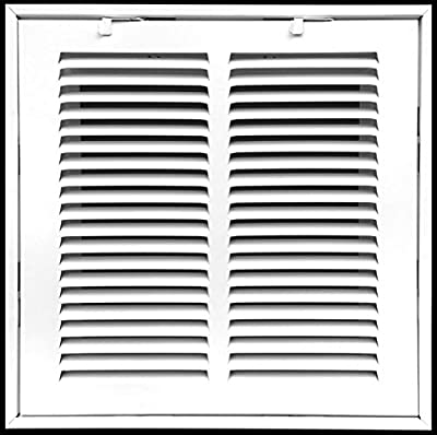 """10"""" X 10"""" Steel Return Air Filter Grille for 1"""" Filter - Fixed Hinged - Ceiling Recommended - HVAC Duct Cover - Flat Stamped Face - White [Outer Dimensions: 12.75""""wX12.75""""h]"""