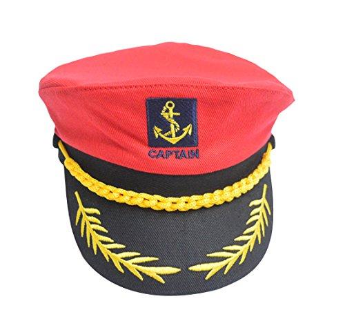 DEMU Damen Kapitänsmütze Kinder Seemanns-Hut Kappe Marine Fasching Karneval verstellbar Rot Hut Umfang 58cm