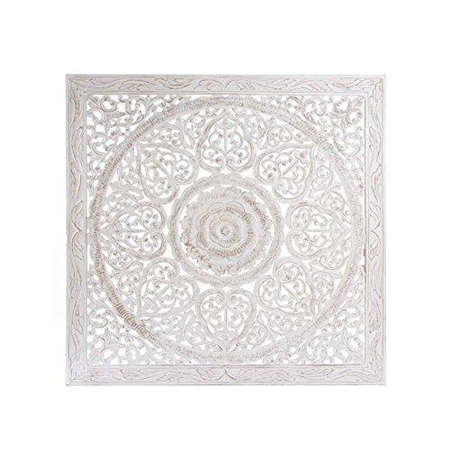 MEGADECOR Cabecero Cama PVC Decorativo Econ/ómico Dise/ño Abstracto Mosaico Circular Blanco y Negro Varias Medidas 100 cm x 60 cm
