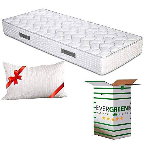 Evergreenweb-orthopedische witte matras, hoogte 20 cm, inclusief visco-kussen, gratis koudschuimmatras H2 & H3, met massageeffect, ademend, mijtdichte bekleding voor lattenbodem of bed, Italiaanse aanbiedingen 75x190 + 1 Memory Foam Kissen GRATIS Fashion