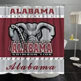 Alabama Shower Curtain Splicing College Covers American School University Multicolored Creative Washable Bathroom Curtain Sets with Hooks Decoration 70x70 Inches