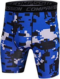 Mens Compression Shorts,Workout Shorts Tights Pixel Printing Elasticity Cool Dry Training Shorts,E,M