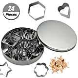 AIM Cloudbed Cookie Cutter Set, 24 PCS Stainless Steel Biscuit Cookies Cutters Molds Flower, Heart, Strar, Geometric Shapes Best for DIY Baking Cake Decoration