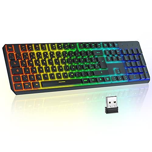 Tastiera da gioco wireless TopMate 2.4G Tastiera retroilluminata arcobaleno Tastiera ricaricabile, silenziosa Tastiera ergonomica con protezione dagli schizzi, per Mac / Office / PC / Laptop