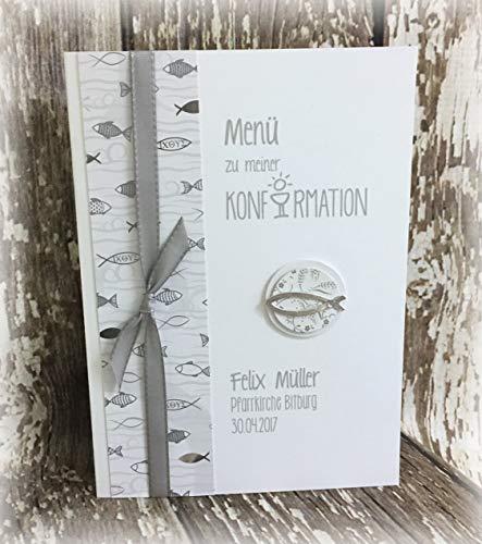 Menü Menükarte Speisekarte Kommunion Konfirmation Streumotiv Fisch personalisierbar weiß silber silberglänzend grau