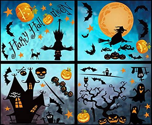 6 hojas Pegatinas Halloween para Ventana Decoración de Halloween Decoración Para el Hogar Decoración Escolar Halloween Fiesta Nórdica (A)