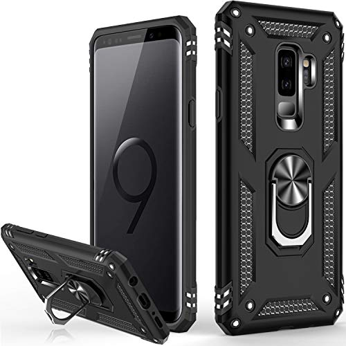 Galaxy S9+ Plus Case,(NOT for Small S9),Military Grade 16ft. Drop Tested Cover with Magnetic Ring Kickstand Compatible with Car Mount Holder,Protective Phone Case for Samsung Galaxy S9 Plus Black