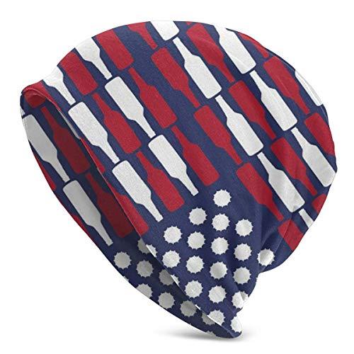 AEMAPE Bandera de Estados Unidos Patten Unisex Beanie Cap Gorro de Punto Gorro elástico Gorro de Calavera Pullover Cap Sombreros