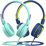Kids Headphones with Mic (2-Pack), 91dB Built-in Volume Limit & Hearing Protection, Light Weight...