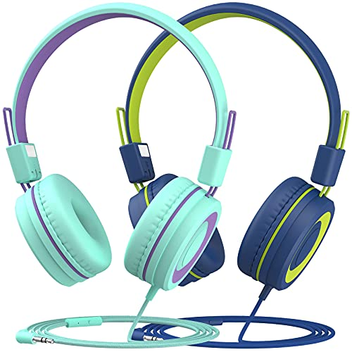 Kids Headphones with Mic (2-Pack), 91dB Built-in Volume Limit & Hearing Protection, Light Weight On-Ear Headsets with Sharing Splitter for Boys Girls Travel