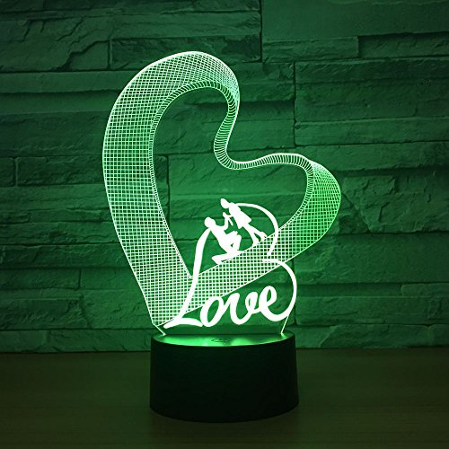 Colorful Three-Dimensional Love Romantic 3D Table lamp Table lamp Remote Control lamp Wedding Decoration | Birthday Party Gift for Children Lovers