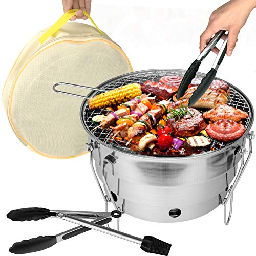 001 New Round Folding Grill,Mini BBQ Stove, Folding Round Charcoal Grill, Stainless Steel Folding Barbecue Grill Portable for Picnic Garden Terrace Camping Travel 11.2' x 11.2' x 8.2'
