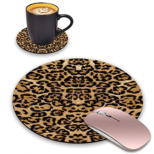 BWOOLL Round Mouse Pad and Coasters Set, Leopard Print Design Mouse Pad, Non-Slip Rubber Base Mouse Pads for Laptop and Computer