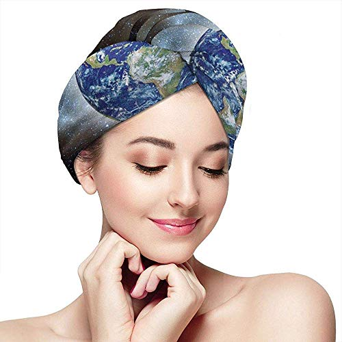 Microfiber Hair Towel Wraps voor dames; Quick with Button Earth and Galaxy