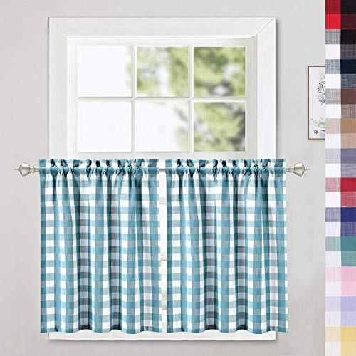 CAROMIO Cafe Curtains 30 Inches Length, Buffalo Plaid Gingham Check Short Tier Curtains for Kitchen Bathroom Window Curtain, Teal/White