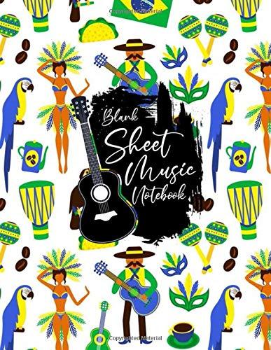 Blank Sheet Music Notebook: Blank Sheet Music Notebook, brazil, football, cafe, dancing women, guitar, Samba Brazilian Carnival design style, Funny ... brazil Music Notebook , brazil gifts