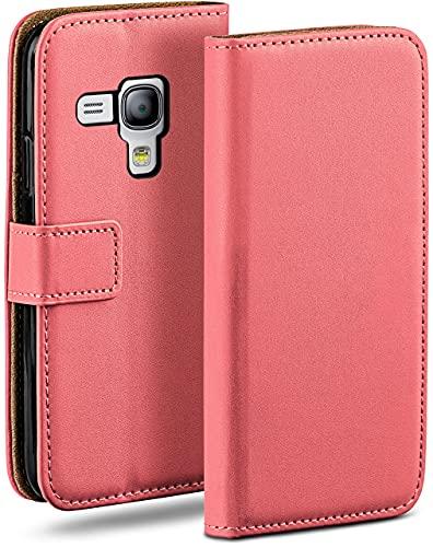 MoEx Funda Cartera [protección 360°] Compatible con Samsung Galaxy S3 Mini | Cierre magnético, Corail