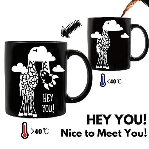 Onebttl Giraffe Geschenk, Giraffen Becher, Tierbecher, Kaffeetasse Farbwechsel Tasse Thermoeffekt