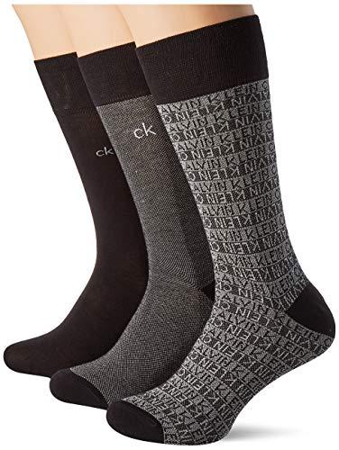 Calvin Klein Men Dress Logo Crew Socks 3p Giftbox Calcetines, Negro, Talla única para Hombre