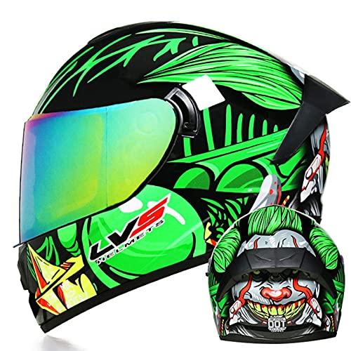 Casco Moto Integrale DOT/ECE Omologato Ciclomotore Street Bike Racing Casco, Casco Moto Antiappannamento Doppia Visiera Per Uomo E Donna Con Visiera Trasparente/Nera/Colorata Green 2,M