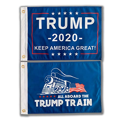 SOULBUTY All Aboard The Trump Train Flag 12x18 Double Sided, Keep America Great Flag, for Boat, Camping, Motorcycle, Three Layers