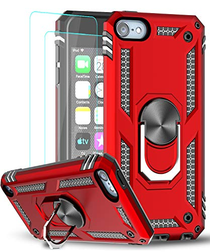 iPod Touch 7 Case, iPod Touch 6 Case, iPod Touch 5 Case with [2 Pack] Tempered Glass Screen Protector,LeYi Military-Grade Phone Case with Car Mount Kickstand for Apple iPod Touch 7th/6th/5th Gen Red
