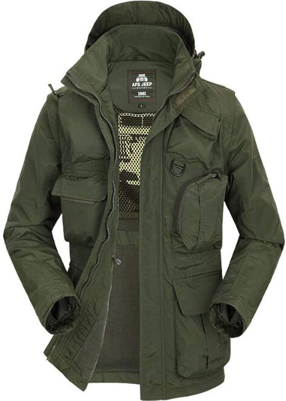 Ocamo Men's Fishing Jacket Thermal Fleece Hooded Windproof Windbreaker Jackets Waterproof Tops with Detachable Long Sleeves