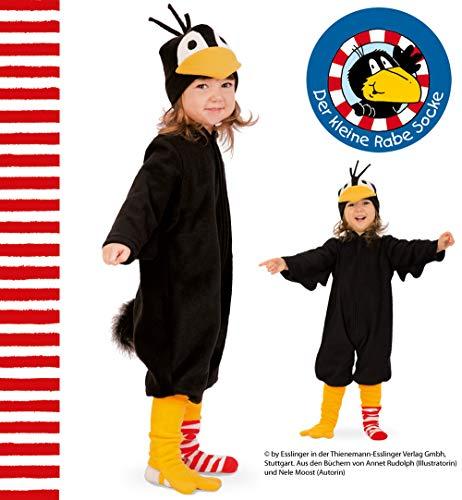 KarnevalsTeufel Kinderkostüm Der kleine Rabe Socke Overall in schwarz mit Mütze und Ringelstrumpf (116)