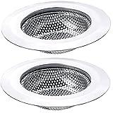 """2 PCS Kitchen Sink Drain Strainer Large Wide Rim 4.5"""" Diameter for Kitchen Sinks, Stainless Steel Bathroom Hair Catcher"""