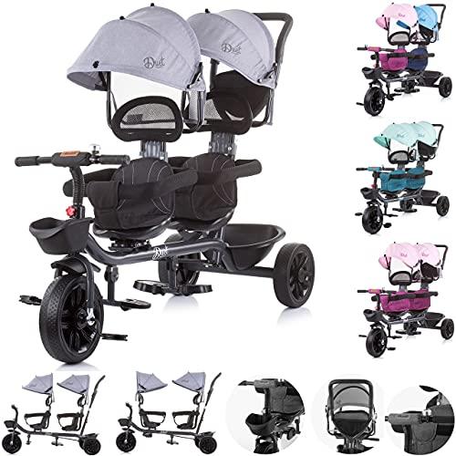 Chipolino Dreirad Tricycle Duet 2 Kinder bis 40 kg Vordersitz drehbar Lenkstange, Farbe:grau