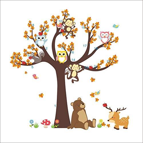 漫画の森の木動物フクロウ猿クマ鹿ウォールステッカー子供部屋男の子女の子寝室リビングルーム背景壁絵画 (マルチカラー, 100x180cm)