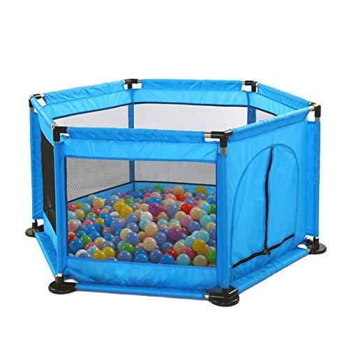 Spielplatzzaun für Kinder mit Laufgitter,Zaun,Spielcenter tragbar und atmungsaktivem Mesh für Neugeborene Indoor und Outdoor Blau1 Eine Größe