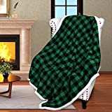 Buffalo Plaid Sherpa Throw Blanket,Reversible Soft Warm Fuzzy Comfy Snuggle Fleece Plush Throws for Bed Couch Sofa TV,60x50,Inches,Green Checkered