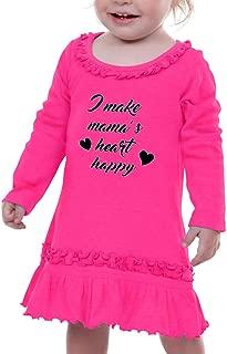 I Make Mama's Heart Happy Taped Neck Girl Ruffle Cotton Long Sleeve Dress