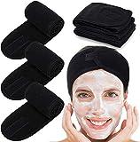 Eagool 3 diademas de spa, bandas de maquillaje para el pelo, diademas elásticas de tela de rizo para deportes de yoga, ducha (negro)