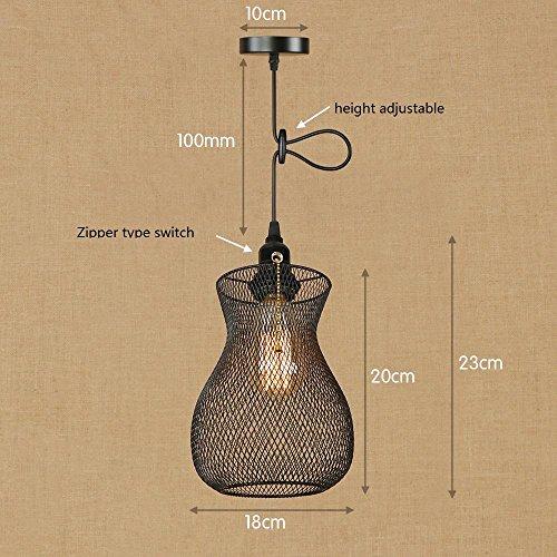OOFAY Lampe Suspension Lustre Cage en fer Abat-jour avec Douille Eclairage de Plafond Style Industrielle Vintage Retro(avec ampoule à fil de tungstène), k