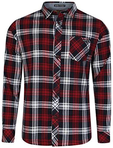 Tokyo Laundry - camicia di flanella a scacchi, cotone pettinato, da uomo Deep Red Small