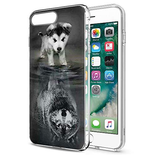 Pnakqil iPhone 8 Plus / 7 Plus Cover Trasparente, Premium Custodia Silicone con Disegni Leggero Ultra Sottile TPU Morbido Antiurto 3d Pattern Bumper Case per iPhone 8 Plus / 7 Plus, Cane Lupo