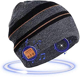 2019 Upgraded Bluetooth5.0 Beanie Hat Headphone Music Audio Hands-Free Phone Call for Outdoor Sports, Built-in HD Stereo S...