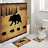 Black Bear Fabric Shower Curtain and Rugs Set for Bathroom, Rustic...