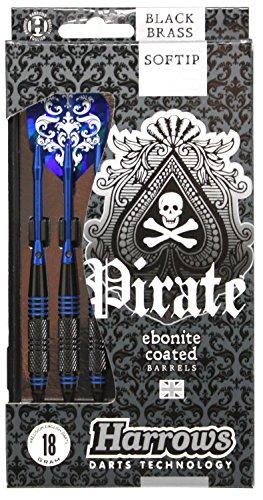 Softdart PIRATE 18 gr 2BA Harrows Pirate ist eine preiswerte Softdart-Serie mit ausgefallenem Design. Der Messing-Griffbarrel ist schwarz beschichtet und mit blauen Ringen versehen.
