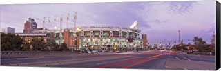 Baseball Stadium at The Roadside, Jacobs Field, Cleveland, Cuyahoga County, Ohio, USA by Panoramic Images Canvas Art Wall Picture, Museum Wrapped with Black Sides, 36 x 12 inches