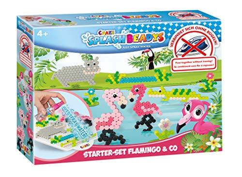 CRAZE Tiere Splash BEADYS Flamingo & Co. Wasserperlen Bügelperlen ohne Bügeln Starter Bastelset 20579, bunt